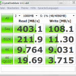 A CrystalDiskMark result of the SSD in UX32Vd