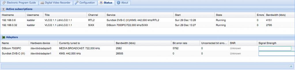 tvheadend mit zwei Tunern auf Raspberry Pi: läuft.