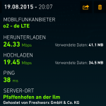 Speedtest iPad Air 2 LTE mit o2
