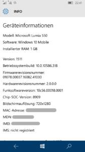 Lumia 550 Systeminformationen