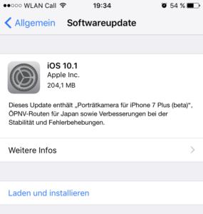 iOS 10.1 veröffentlich