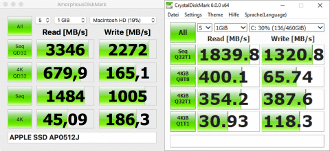 Left: Macbook Pro SSD, right: PM981 NVMe Samsung in XPS