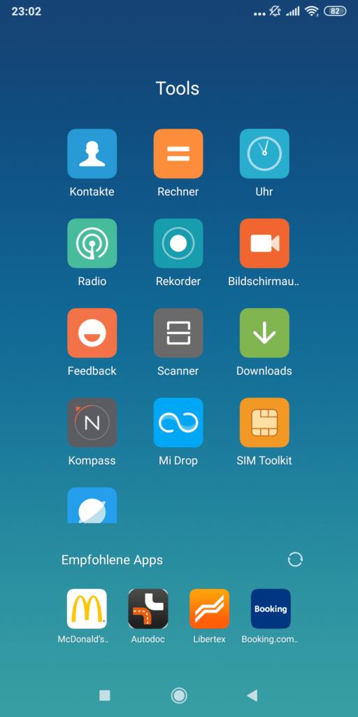 MIUI 10 mit App-Vorschlägen